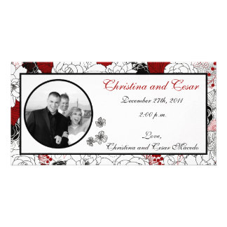 4 x 8 Engagement Photo Announcement Black Flowers Photo Card Template