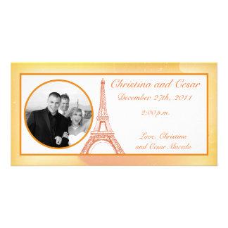 4 x 8 Engagement Photo Announcement Paris Peach Customised Photo Card