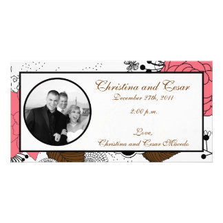 4 x 8 Engagement Photo Announcement Pink Flowers Photo Greeting Card