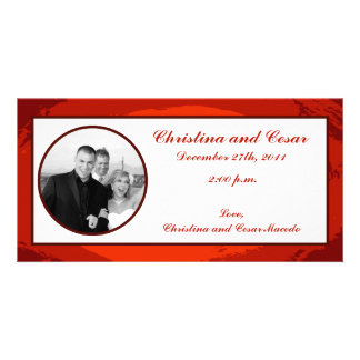 4 x 8 Engagement Photo Announcement Red Sunset Picture Card