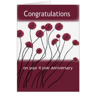 4 Year Anniversary 12 Step Recovery Flowers Greeting Card