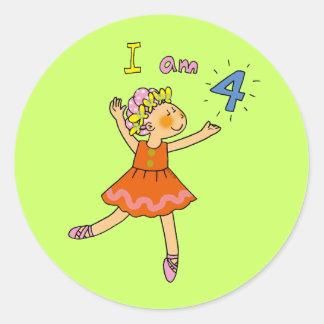 4 year old ballerina round sticker