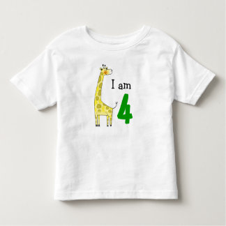4 year old birthday boy/girl gift (cute giraffe) toddler T-Shirt