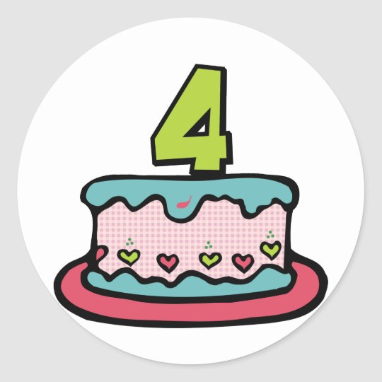 Awesome 4 Year Old Birthday Cake Classic Round Sticker Zazzle Co Uk Personalised Birthday Cards Veneteletsinfo