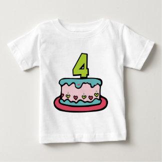 4 Year Old Birthday Cake Tee Shirt