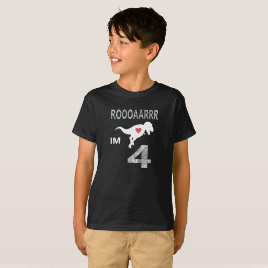 4 Year Old Birthday Gift T-Shirt Dinosaur Tee
