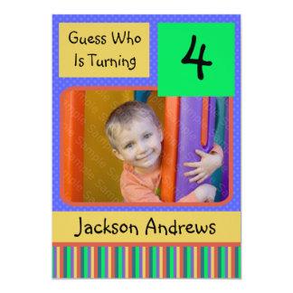 "4 Year Old Birthday Party Invitations BOY 5"" X 7"" Invitation Card"