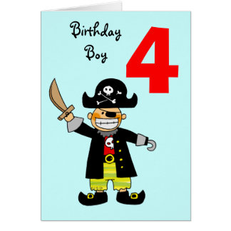 4 year old pirate boy greeting card