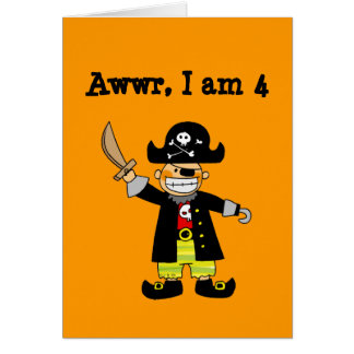 4 year old pirate boy greeting cards