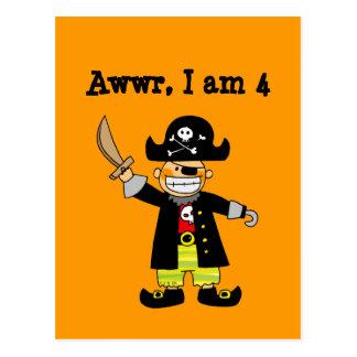 4 year old pirate boy postcard