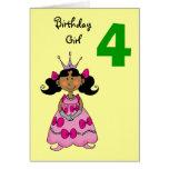 4 year old princess (black hair) greeting card