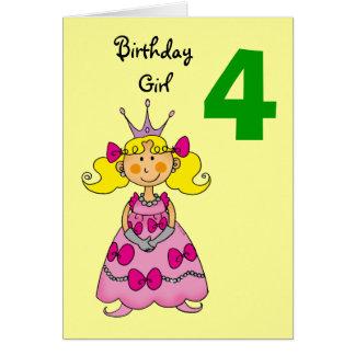 4 year old princess (blonde hair) greeting card