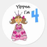 4 year old princess (brown hair) round sticker