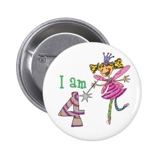 4 year old princess fairy 6 cm round badge