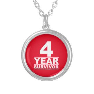 4 year survivor round pendant necklace