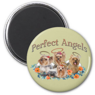4 Yorkie Perfect Angels gifts 6 Cm Round Magnet