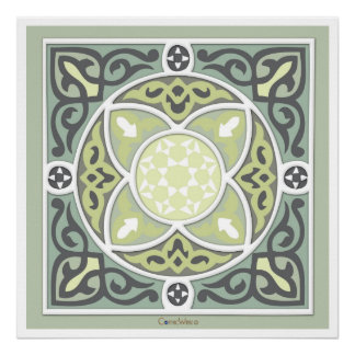4Directions Lime&Sage Art  Print