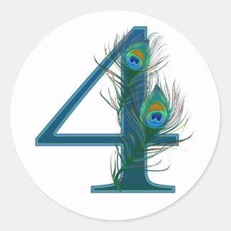 4th anniversary / 4 / 4th / number 4 round sticker