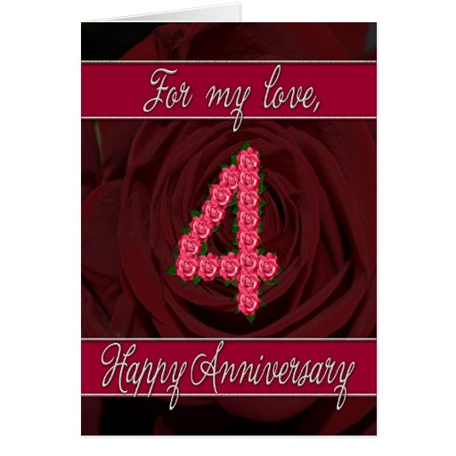 Th anniversary card with roses and leaves zazzle