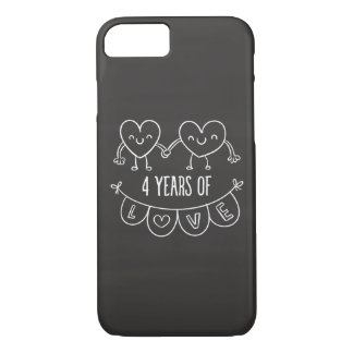 4th Anniversary Gift Chalk Hearts iPhone 7 Case