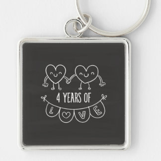 4th Anniversary Gift Chalk Hearts Silver-Colored Square Key Ring
