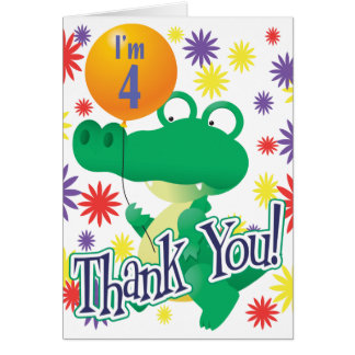 4th Birthday Alligator Card