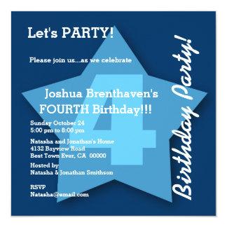 4th Birthday Baby Boy Four Year Big Blue Star K04 13 Cm X 13 Cm Square Invitation Card