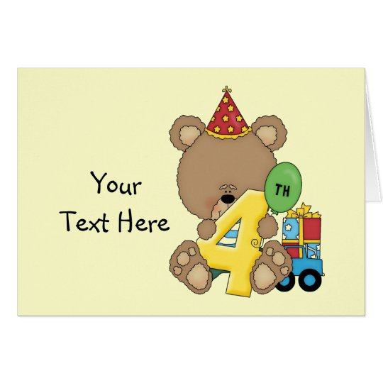 4th Birthday Bear Boy (customisable) Card