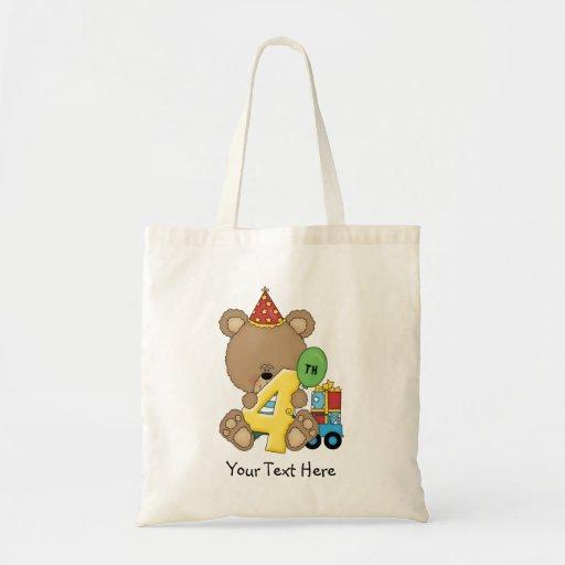 4th Birthday Bear Boy (customizable) Tote Bags