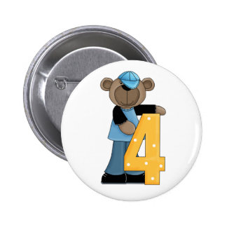 4th Birthday Bear Fun Pin Button