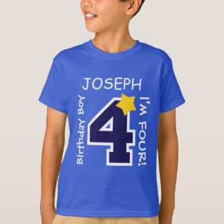 4th Birthday Boy BLUE One Year Custom Name A03A T-Shirt