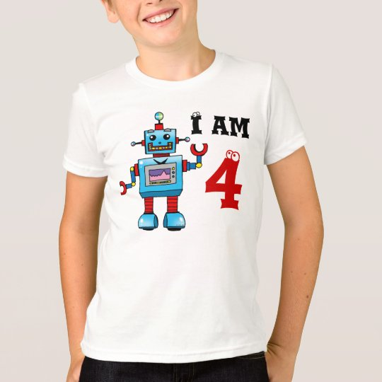 4th birthday boy gift - robot T-Shirt