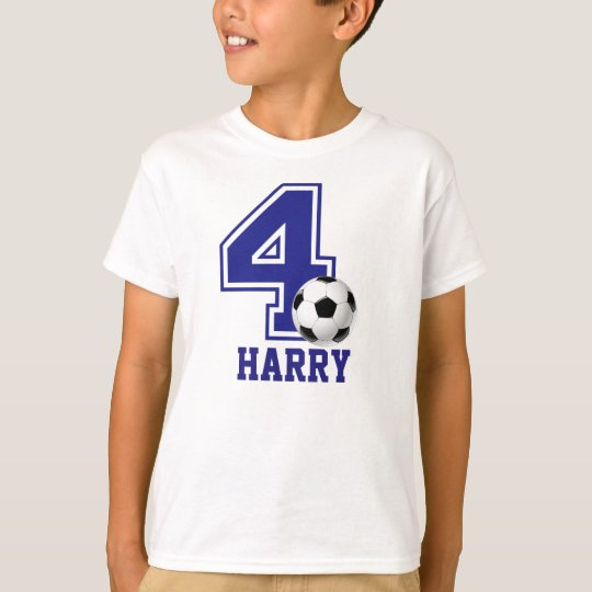 4th Birthday boy soccer personalised T-Shirt