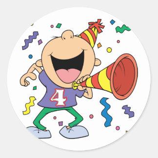4th Birthday Boy Classic Round Sticker