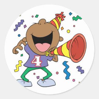 4th Birthday Boy Round Sticker