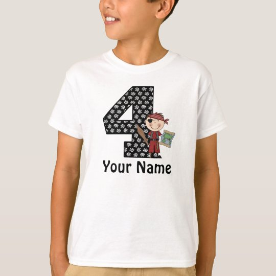 4th Birthday Boys Pirate Personalised Shirt