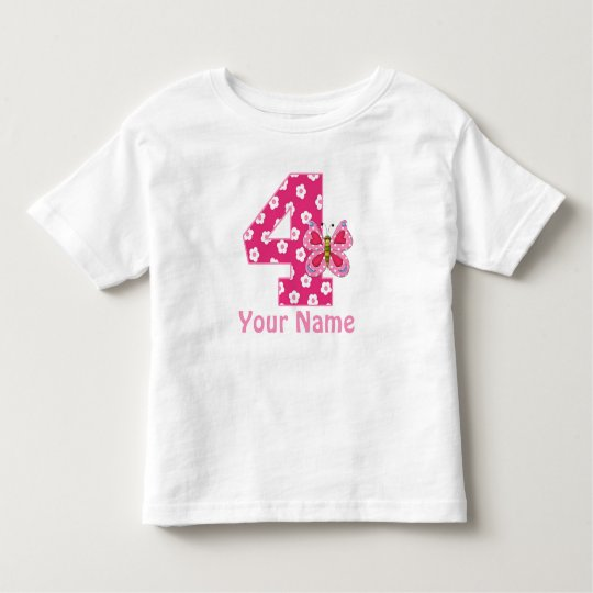 4th Birthday Butterfly Girls Personalised Shirt