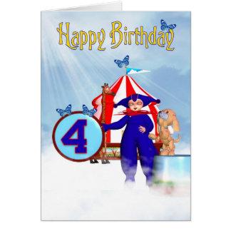 4th Birthday Card - Cute Little Pixie Clown