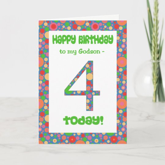 4th Birthday Card For Godson Bright And Bubbly