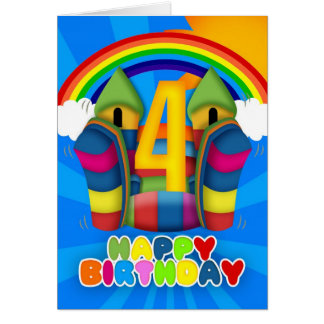 4th Birthday Card With Bouncy Castle And Rainbow