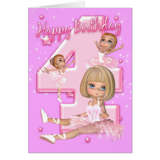4th Birthday Card With Cute Ballerina