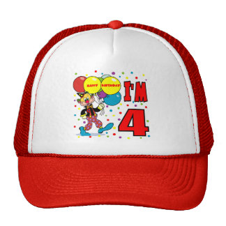 4th Birthday Clown Birthday Mesh Hats
