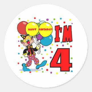 4th Birthday Clown Birthday Round Stickers