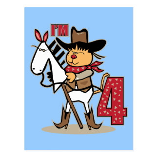 4th Birthday Cowboy Stick Horse Postcard