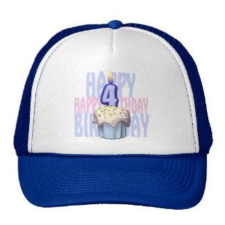 4th Birthday Cupcake Birthday Cap