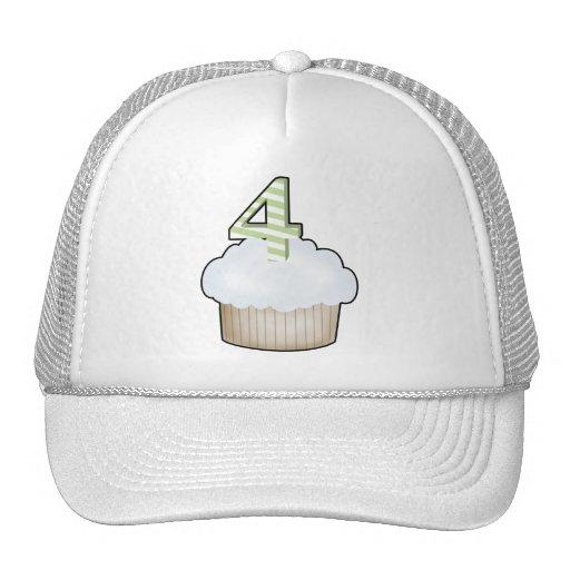 4th Birthday Cupcake Trucker Hats