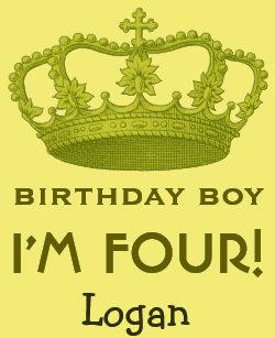 4th Birthday Custom Name Green Crown Gift Idea T Shirt