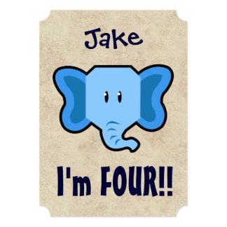 4th Birthday Cute Blue Elephant Face for BOY E04Z 13 Cm X 18 Cm Invitation Card