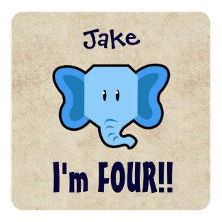 4th Birthday Cute Blue Elephant Face for BOY E04Z 13 Cm X 13 Cm Square Invitation Card