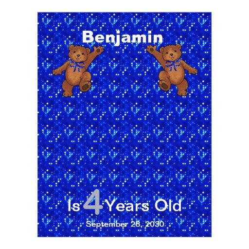 4th Birthday Dancing Bear Scrapbook Paper 1 Flyer Design